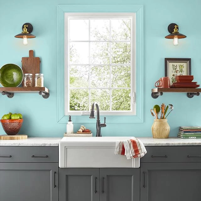 Kitchen painted in AQUA WAVE