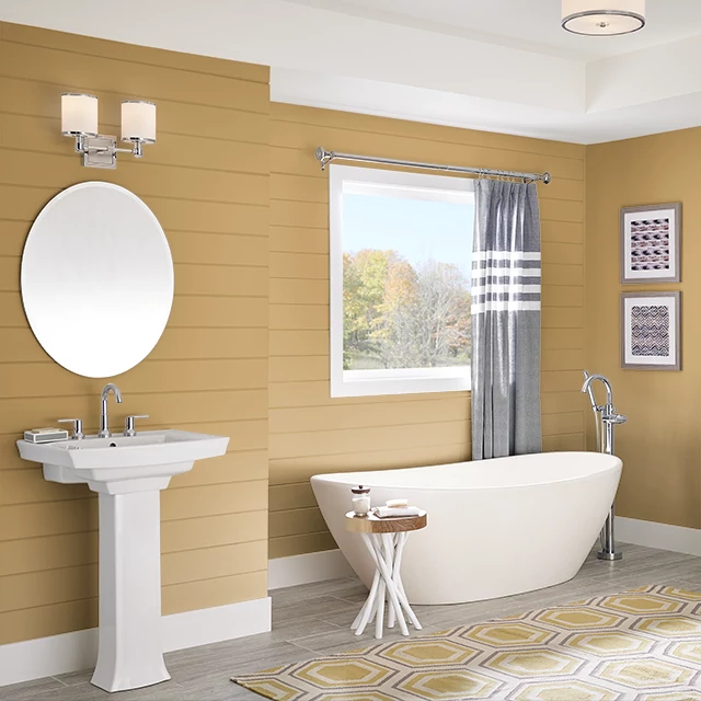 Bathroom painted in CAIRO GOLD