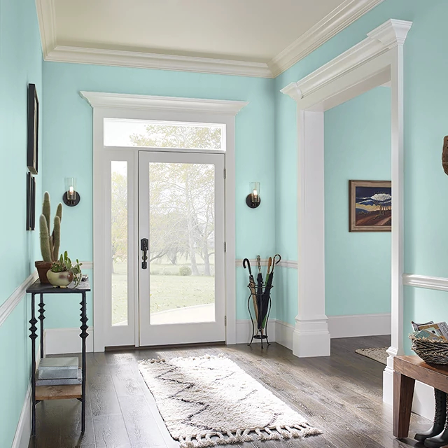 Foyer painted in VINTAGE AQUA