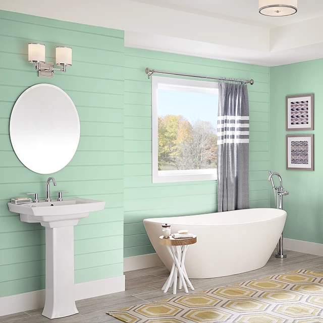 Bathroom painted in GREEN ICING