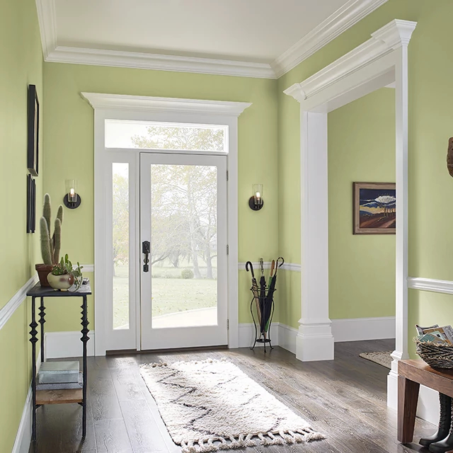 Foyer painted in BURNISHED GREEN