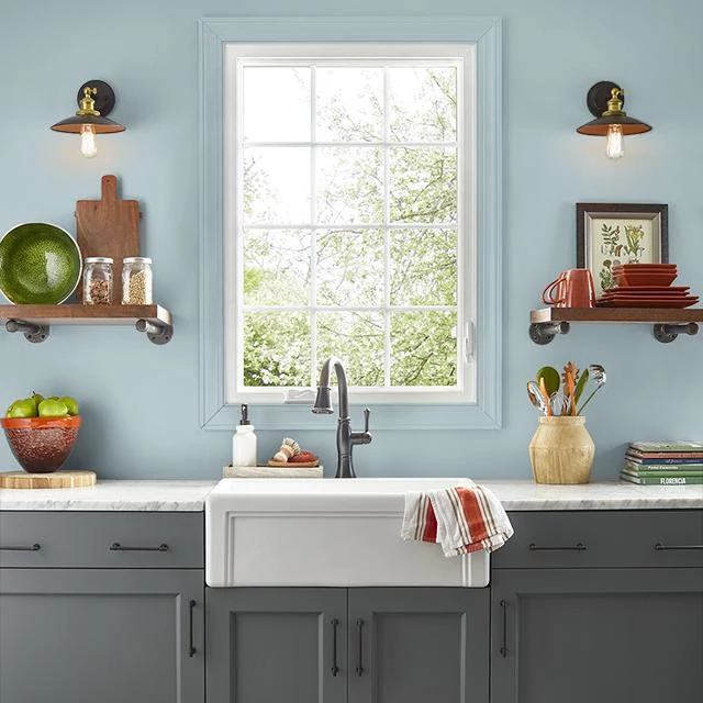 Kitchen painted in BEACH WATER