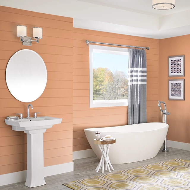 Bathroom painted in SPICED ORANGE