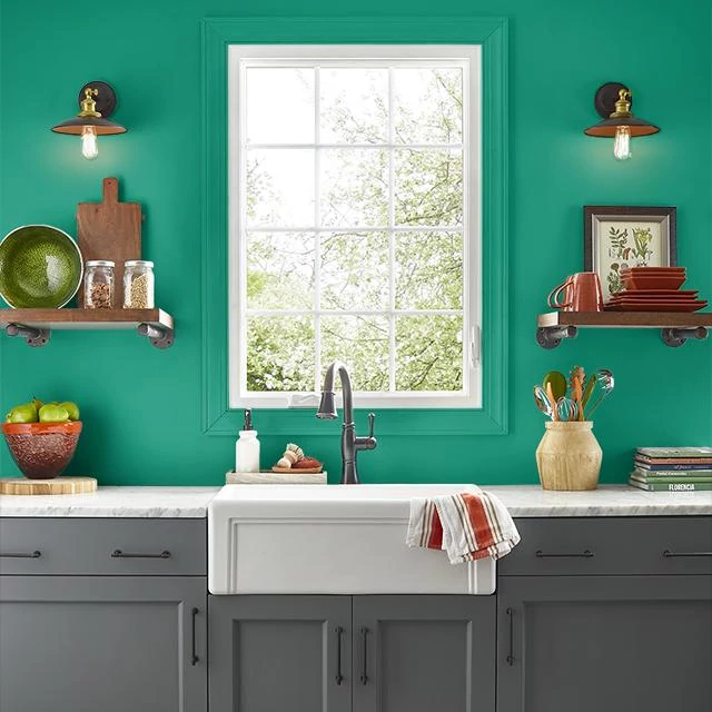 Kitchen painted in POP OF GREEN