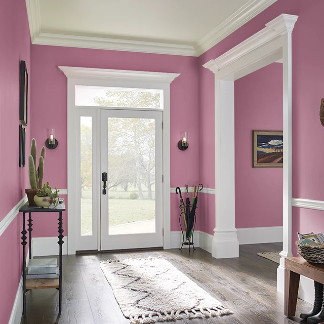 Foyer painted in PEAKING PINK