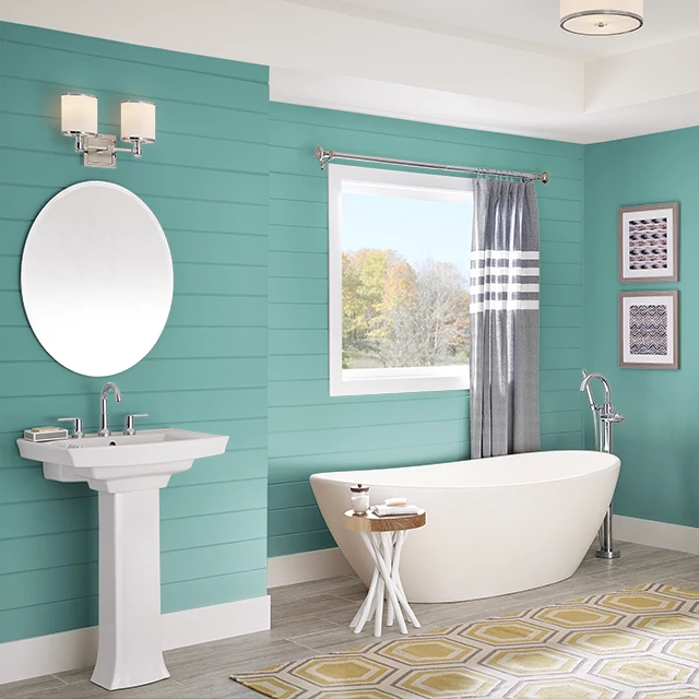 Bathroom painted in TAHITIAN GREEN