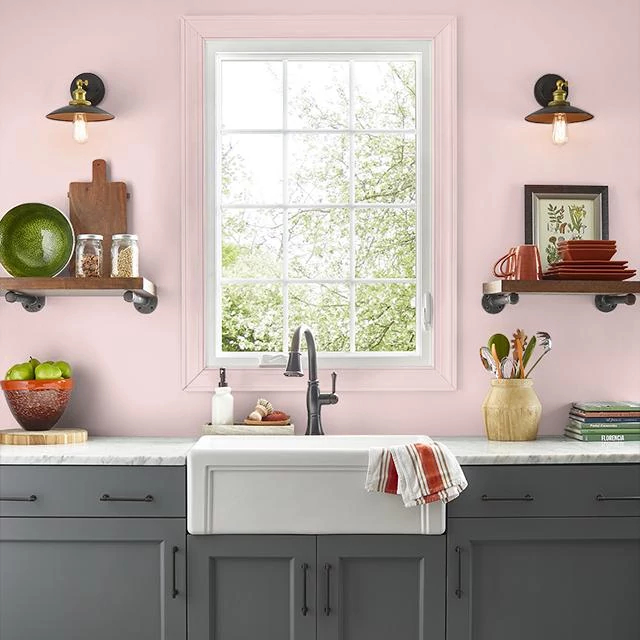 Kitchen painted in SWEET BLUSH