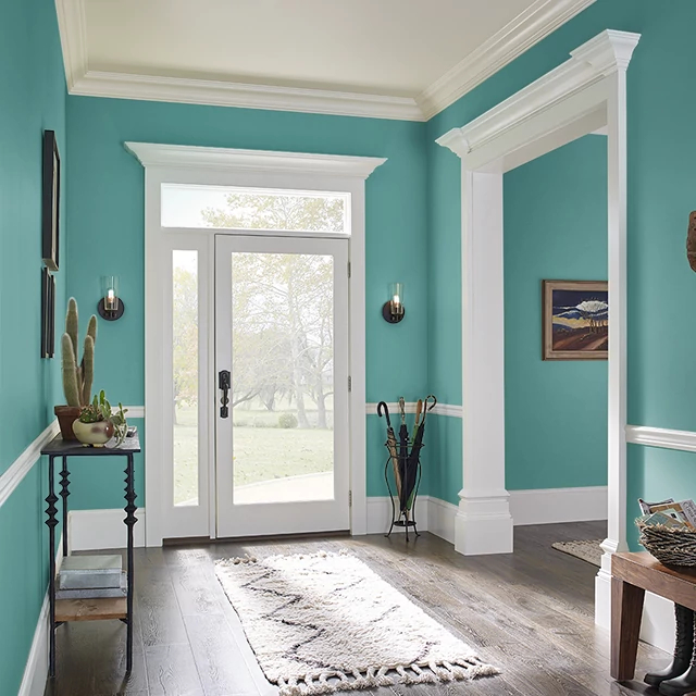 Foyer painted in FRENCH BLUE