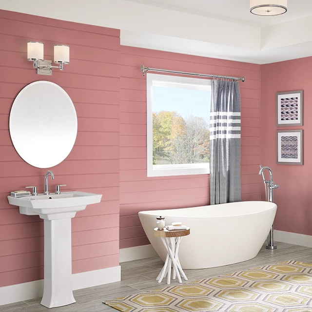 Bathroom painted in WATERMELON CRUSH