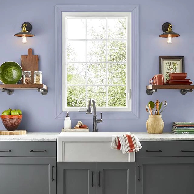 Kitchen painted in LAVENDER HERB