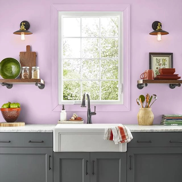 Kitchen painted in PINK TIARA