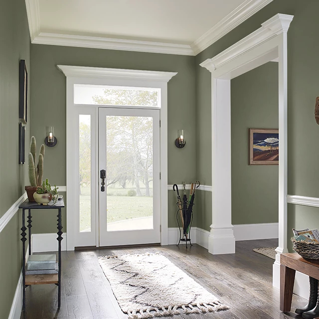 Foyer painted in YEW HEDGE