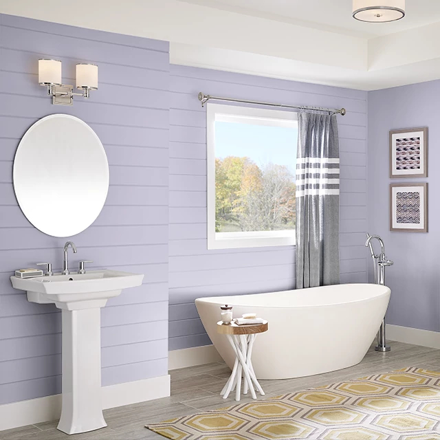 Bathroom painted in BOYSENBERRY CREAM