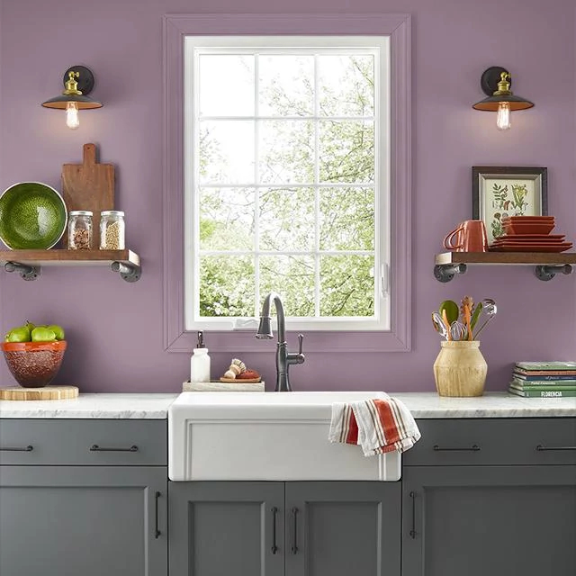 Kitchen painted in BURGUNDY FROST
