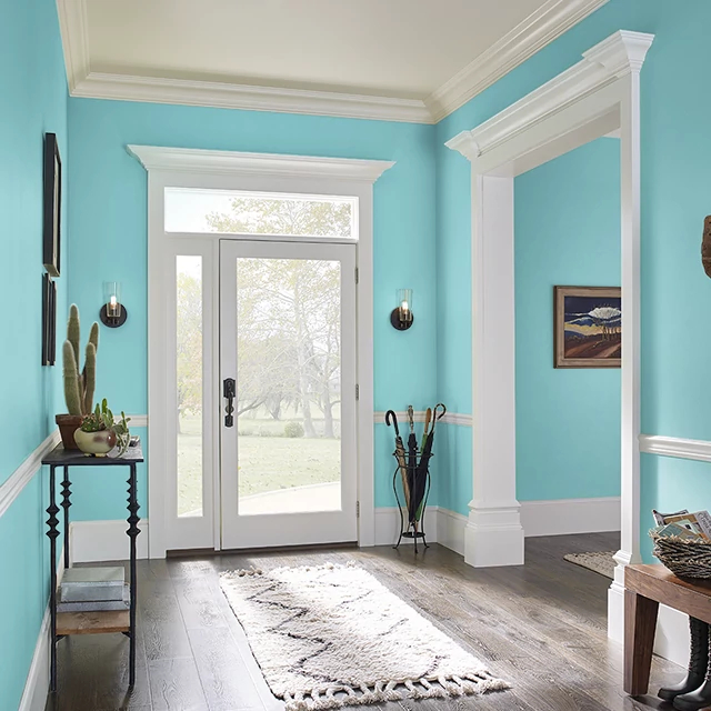 Foyer painted in CLASSIC TURQUOISE
