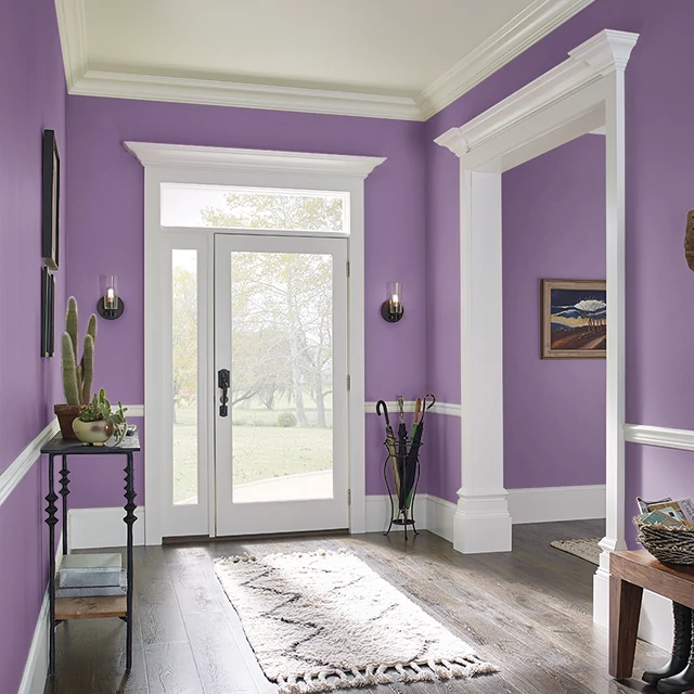 Foyer painted in POETS PURPLE