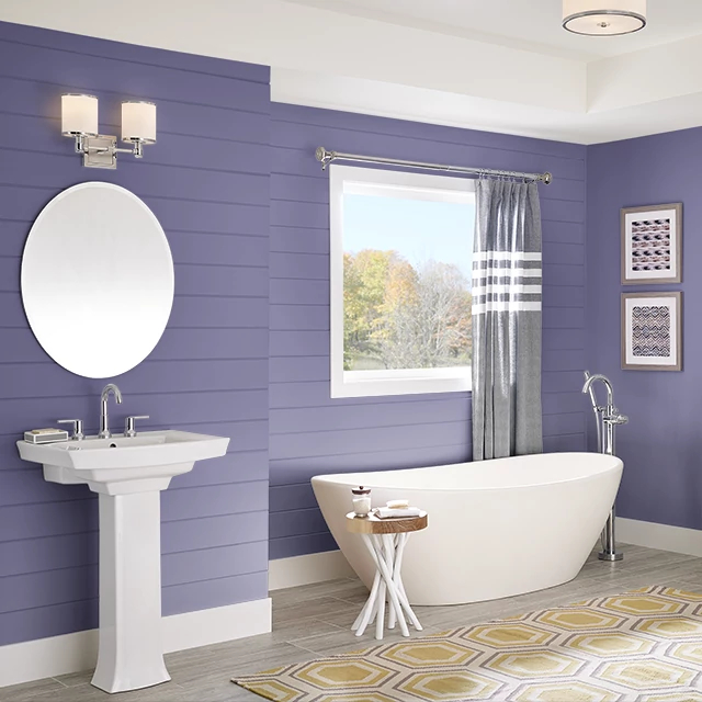 Bathroom painted in PURPLE