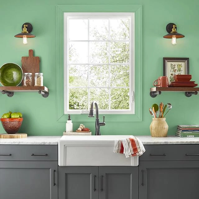 Kitchen painted in WHEATGRASS