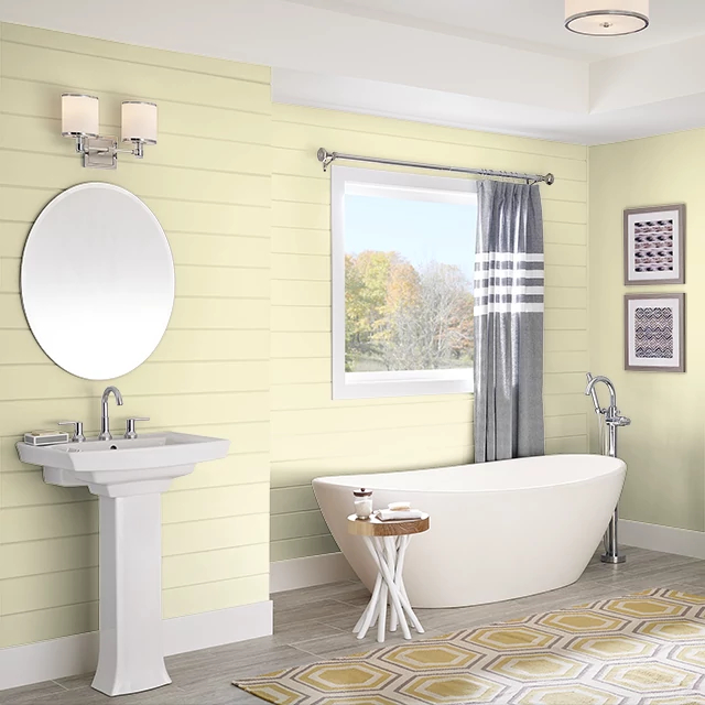 Bathroom painted in PALE LEMON