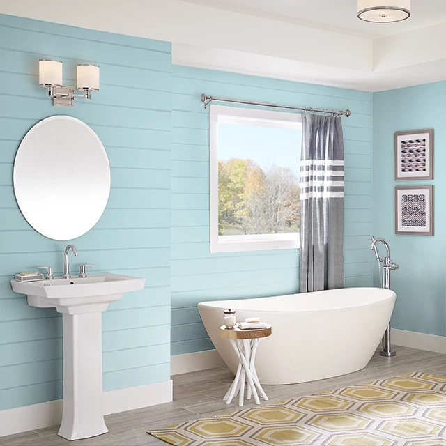 Bathroom painted in DROP OF TEAL