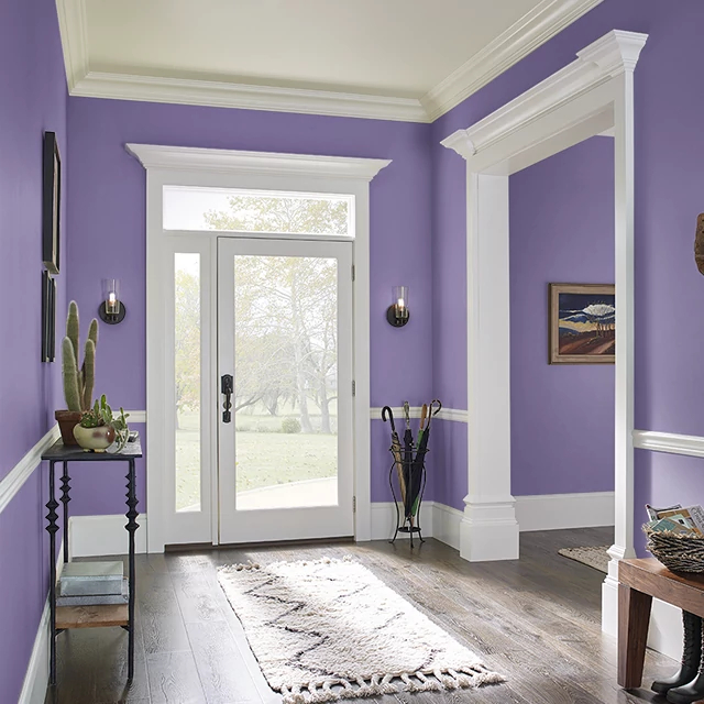 Foyer painted in MYSTICAL PURPLE