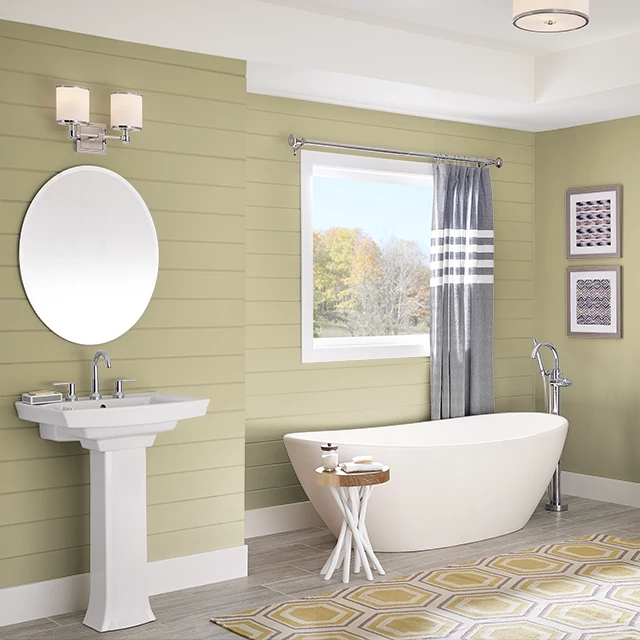 Bathroom painted in CUMIN SEED