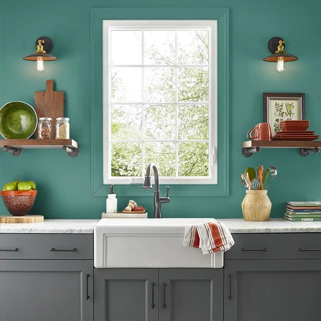 Kitchen painted in TEAL GREEN