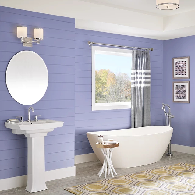 Bathroom painted in LAVENDER GLOW