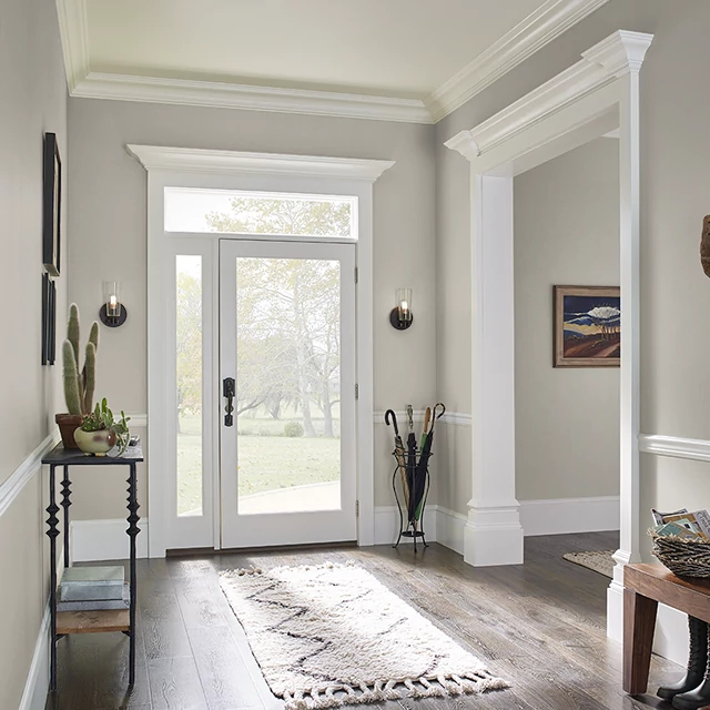 Foyer painted in DRIFTWOOD GRAY
