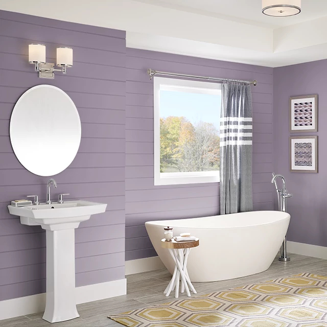 Bathroom painted in PLUM NOTION