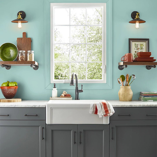 Kitchen painted in OCEANIC