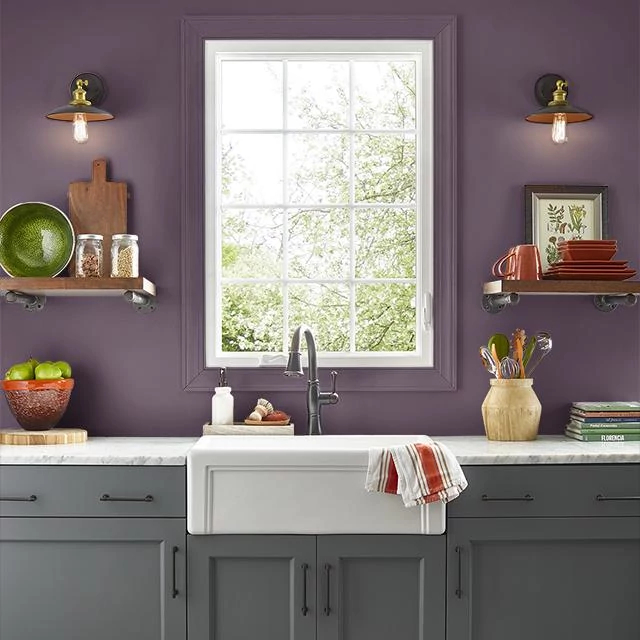 Kitchen painted in EGGPLANT