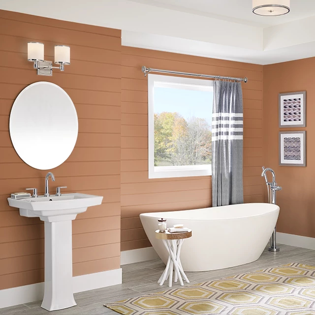 Bathroom painted in GLAZED CARROT