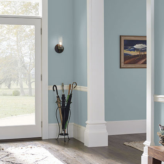 Foyer painted in CHAMBRAY BLUE