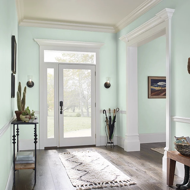 Foyer painted in CREAMY MINT