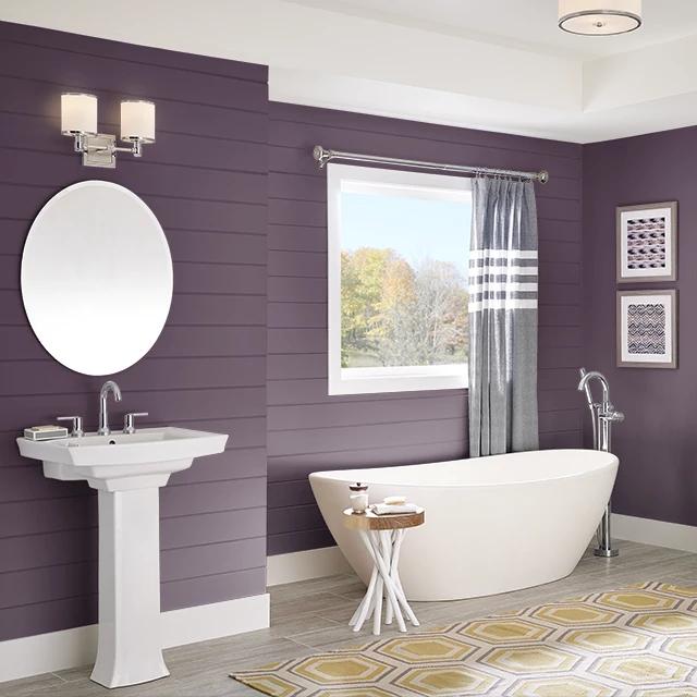 Bathroom painted in EGGPLANT