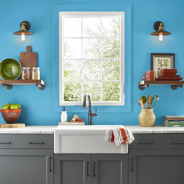 Kitchen painted in SERENE STREAM