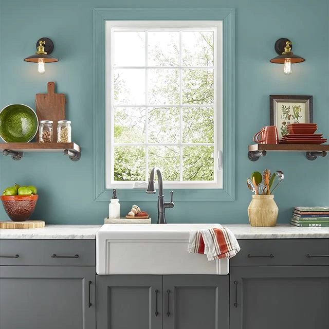 Kitchen painted in GREEN CAST