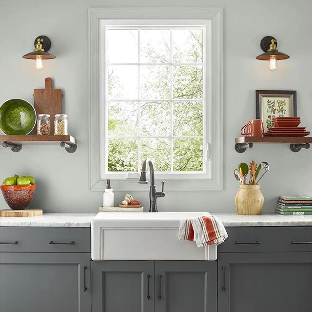 Kitchen painted in INTERNATIONAL GRAY