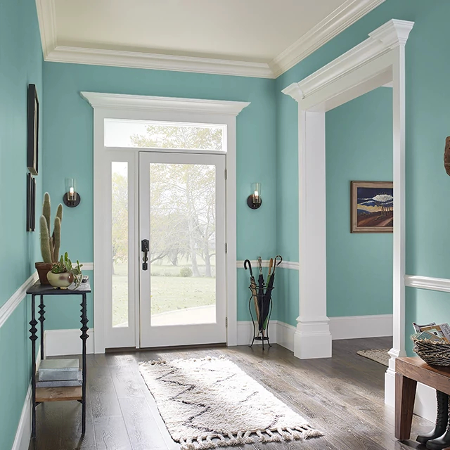 Foyer painted in GARDEN POND
