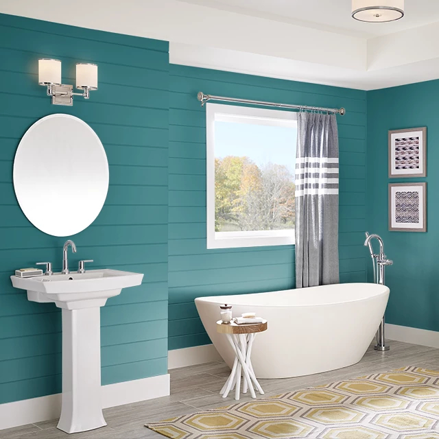 Bathroom painted in TEAL TREAT