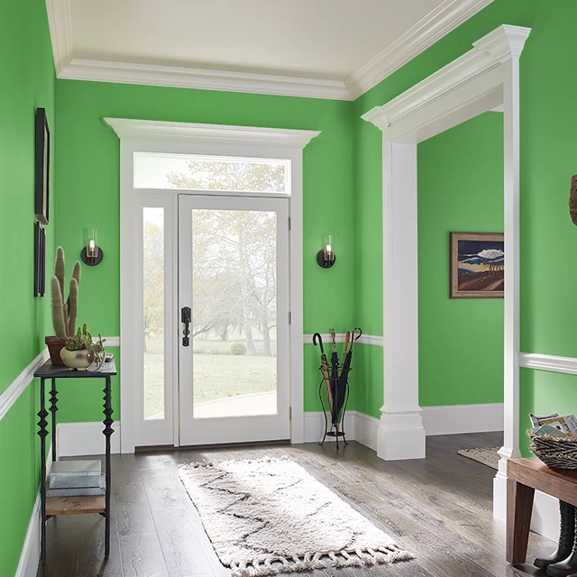 Foyer painted in VIVID LIME