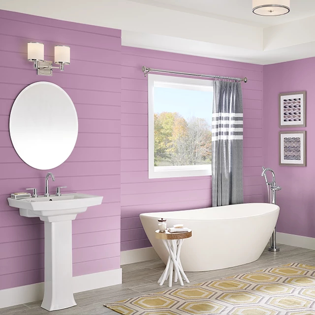 Bathroom painted in BERRY PUNCH