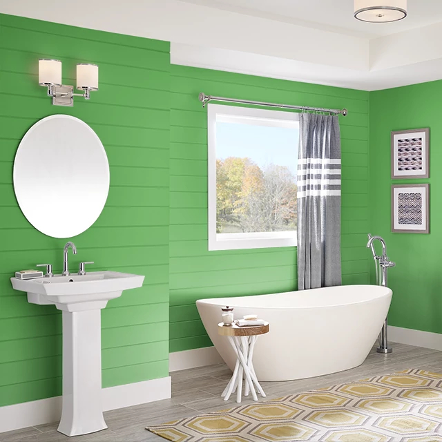 Bathroom painted in VIVID LIME