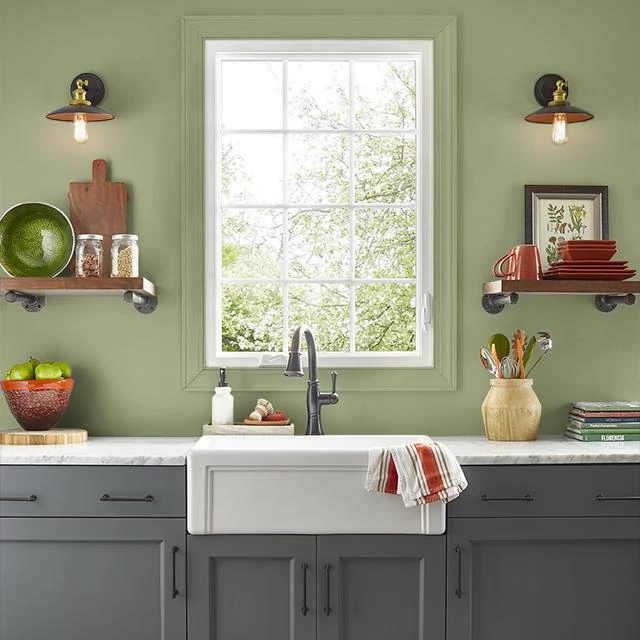 Kitchen painted in AVOCADO MASK