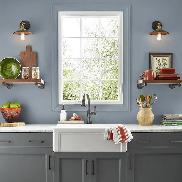Kitchen painted in PORPOISE GRAY