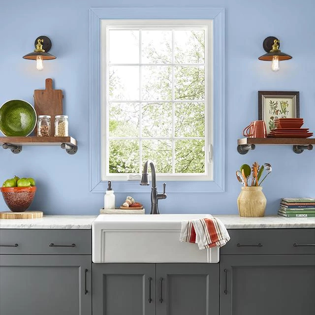 Kitchen painted in DELICATE BLUE