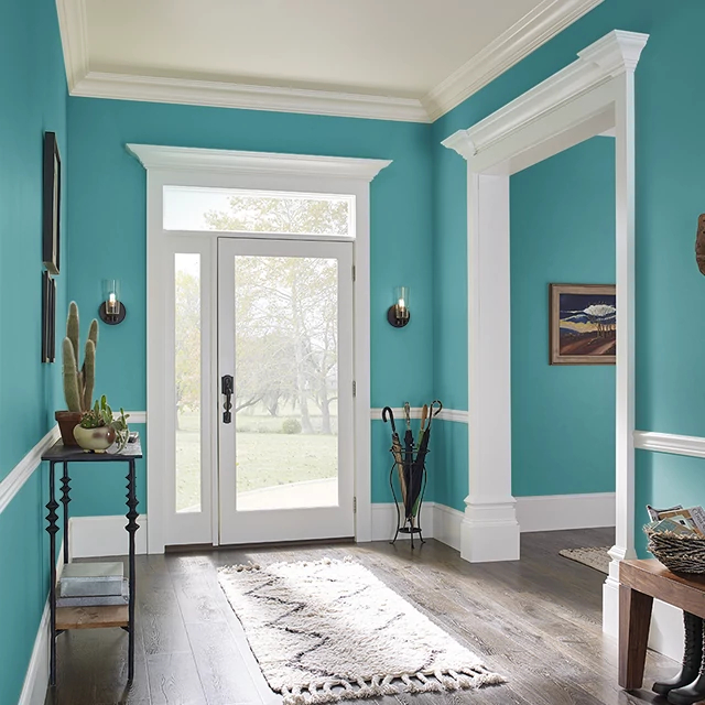 Foyer painted in PERFECT PEACOCK