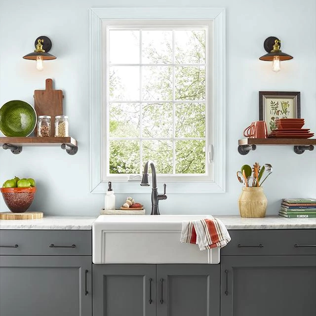 Kitchen painted in MORNING HUSH