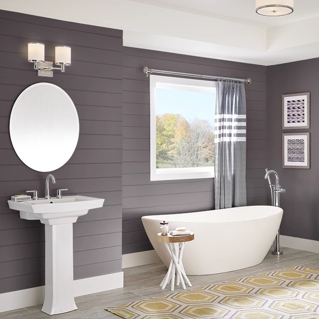 Bathroom painted in MULBERRY